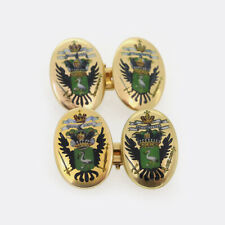 Edwardian Enamel Cicogna Mozzoni Coat Of Arms Cufflinks 18ct Yellow Gold