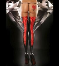 Sexy PVC Wet Look Stockings + Red Band, Tights Socks Pantyhose Hosiery Size: S-L