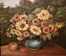 tableau nature morte fruit et fleurs huile sur carton. oil painting