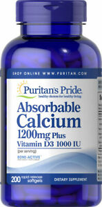 Puritan's Pride Absorbable Calcium 1200 mg with Vitamin D3 1000 IU 200 Softgels