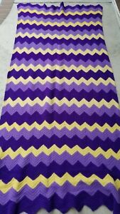 """Handmade Cable Knitted Thick Wool Blanket Purple Chevron Pattern 91"""" X 46"""""""