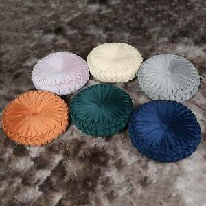 UK Colourful Round Seat Cushions Crushed Velvet Round Cushion Home Essentials