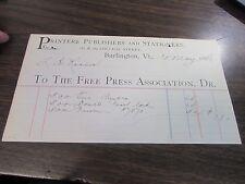 ANTIQUE - THE FREE PRESS ASSOCIATION - BURLINGTON VT - 1888 BILLHEAD