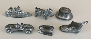 Vintage metal  Monopoly Game board Playing Pieces,Iron,Boot,Top Hat,Dog,Car,Boot