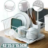 Dish Drying Rack Drainer Dryer w/Drip Tray For Kitchen Cup Plate Board Holder US