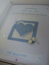 Luxury Personalised 70th (Platinum) Wedding Anniversary Card, Swarovski crystals