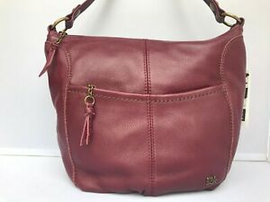 The Sak Women's Iris Leather Hobo Bag - Cabernet/Gold - New With Tags