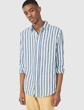 Men's Yale Gant Rugger Indigo Oxford Stripe Shirt White/Blue Striped Size Large