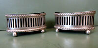 Art Deco Pair of Silver Salts with Coblat Blue Liners - Birmingham 1921 Hallmark