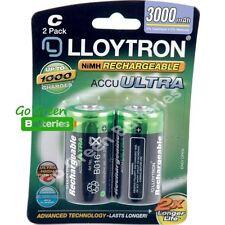 2 x Lloytron C Size 3000 mAh NiMH Rechargeable Batteries LR14 HR14 DC1400 ACCU