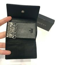 Gucci Black Leather Silver G Logo Small Key Case