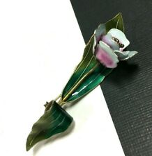 Vintage Green & Pink Enamel Work FLOWER Brooch .925 STERLING Silver oo129e