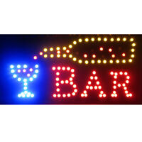 "19""x10"" Bright Animated Motion LED Neon Light Restaurant Cafe Bar Business Sign"