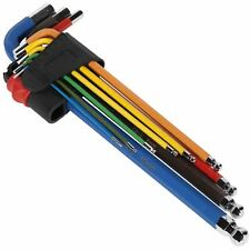 Sealey Premier 9pc Colour Coded Extra Long Ball End Hex Allen Key Set 1.5-10mm