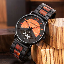 WOODEN WATCH RELOGIO MASUCLINO BOBO BIRD LUXURY DESIGN S01 ORANGE DUAL DISPLAY