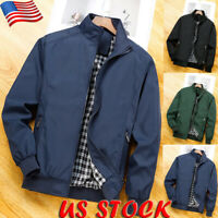 Men's Winter Lightweight Bomber Coat Casual Business Zipper Jacket Tops Outwear