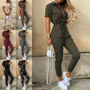 Womens Belted Jumpsuit Playsuit Ladies Cargo Trousers Striped Tie Waist Rompers