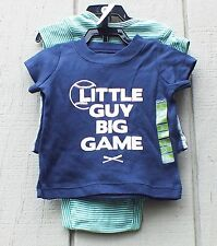New Carters GIFT Infant Baby Boys' 3-Piece Little Guy Big Game Set Size 3M