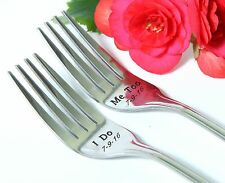 I Do-Me Too Forks, Wedding Cake Forks, Personalized Forks with Dates