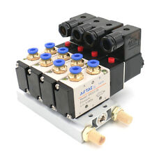 DC 24V Single Head 2 Position 5 Way 4 Pneumatic Solenoid Valve with Base muffler