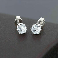 0.90 Ct Round Cut D/VVS1 Diamond 14K White Gold Plated 6-Prong Stud Earrings 5mm