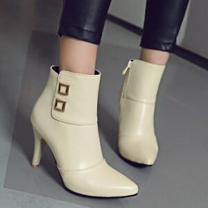 Womens Pointed Toe Ankle High Heels Zip Boots Fashion Party Chelsea Bootie Shoes