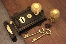 Period Door Knob Set Antique Cast Iron/Brass Davenport Door Rim Lock (5 Choices)