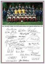 Scotland 1978 World Cup full squad signed A4 reprint