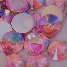 70pcs 10mm Lt Pink AB Pointed Round Non-Hotfix Flatback Acrylic Rhinestones