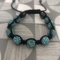 Blue Crystal Pave And Hematite Beads Shamballa Bracelet - Adjustable Costume