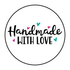 """30 HANDMADE WITH LOVE ENVELOPE SEALS LABELS STICKERS 1.5"""" ROUND HAND MADE GIFTS"""
