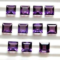 Wholesale Lot 7mm Square Cut Natural African Amethyst Loose Calibrated Gemstone