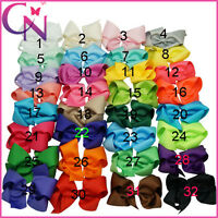 5 Inches Boutique Girls Baby Hair Bows With Alligator Clip Grosgrain Ribbon Lot