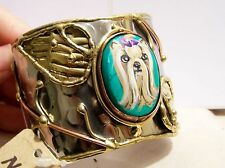 hand painted Yorkie Brass silver copper handcrafted turquoise open cuff bracelet