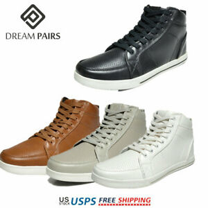DREAM PAIRS Mens Casual Light Weight High Top Lace Up Side Zipper Sneakers Shoes