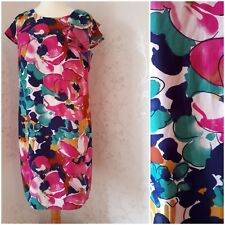 PUR UNA Pink mix floral lined dress size 16 summer evenings party new with tags