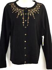 Studio Works Womens Sweater Sz Medium Black Embellishments Long Sleeves Cardigan