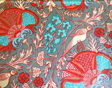 Vtg French Jacobean Indienne Floral Bird Cotton Fabric ~ Persimmon Red Turquoise