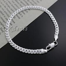 Women Men Chain Bangle Silver Plated Bracelet 5MM