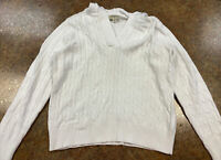 St Johns Bay Women White Fall Casual Cable Knit Hooded Pullover Sweater Size PL