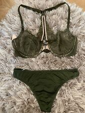 NWT 32C Small Victorias Secret Olive Green Bra & Panty Set Lingerie Very Sexy