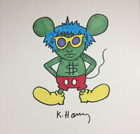 ORIGINAL KEITH HARING * ANDY MOUSE * INK ON CARDSTOCK