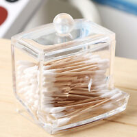 Clear Acrylic Makeup Storage Cotton Swab Organizer Box Cosmetic Holder