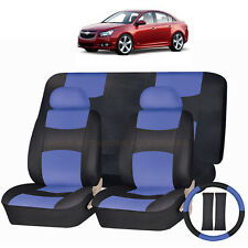 PU LEATHER BLUE & BLACK SEAT COVERS 11PC SET for CHEVROLET CRUZE COBALT