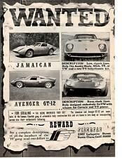 1969 FIBERFAB AVENGER GT-12 / JAMAICAN KIT CAR  ~  NICE ORIGINAL PRINT AD