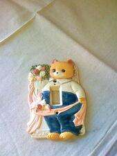 Kitty Cat Ceramic Light Switch Plate Cover Bird Flowers Takahashi Japan Darling