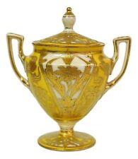 Austrian Limoges Hand Painted Heavy Gold Yellow Porcelain Footed Sugar Bowl