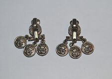 Vintage French Signed AGATHA PARIS Earrings Door Knocker Silver Faux Coins