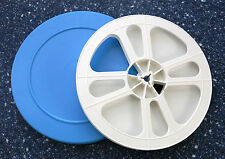 8Mm Movie Film Reel And Storage Can Set - 400 Ft 7 Inch - blue and white