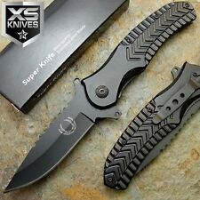 """9"""" BLACK Spring Assisted Stainless Steel METAL HANDLE Tactical Folding Knife"""